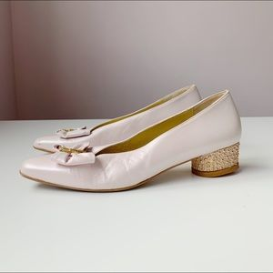 pearly kitten heels with bow and gold bubble heel